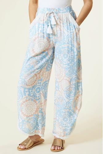 Surf Gypsy Watercolor Printed Crochet Pant BLUE