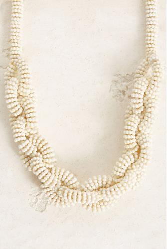 Beaded Chain Link Statement Necklace IVORY