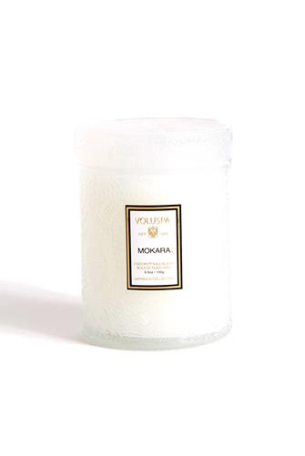 Mokara Small Glass Jar Candle 5.5 oz. WHITE
