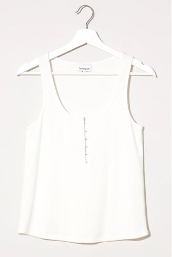Luella Button Front Ribbed Henley IVORY
