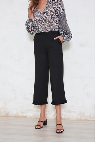 Wide Leg Fray Hem Pant BLACK