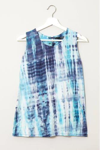 Tie Dye Lace Up Back Top BLUE