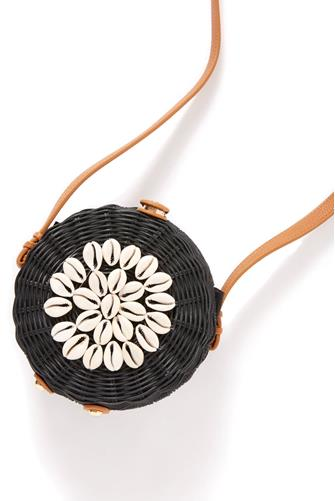 Black Bali Shell Round Crossbody Bag BLACK