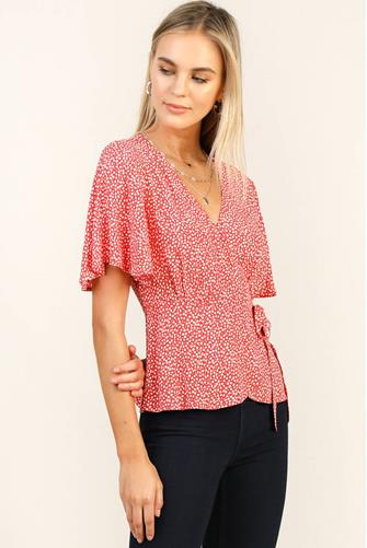 Ditsy Floral Wrap Top RED MULTI -