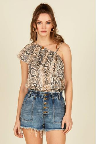 One Shoulder Snake Print Top NATURAL