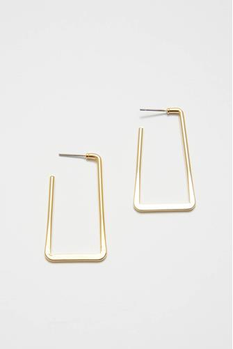 Gold Rectangular Hoop Earrings GOLD