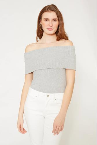 Ribbed Off Shoulder Top GREY