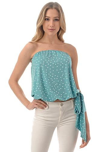 Polka Dot Side Tie Tube Top LITE-BLUE