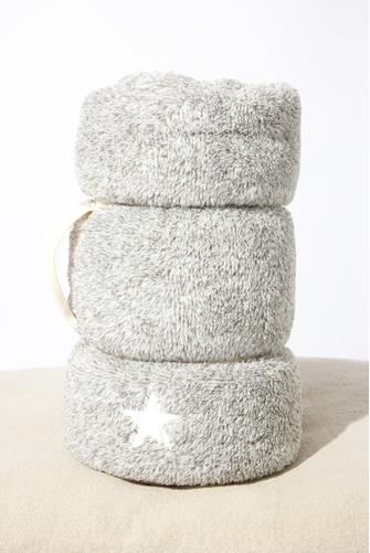 Star Sherpa Lined Cozy Blanket GREY