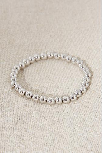 Medium Beaded Stretch Bracelet SILVER