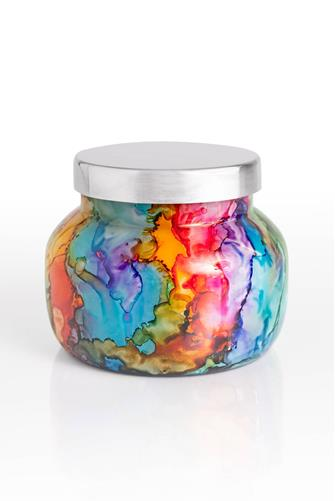 Volcano Rainbow Watercolor Petite Jar Candle 8 oz. MULTI