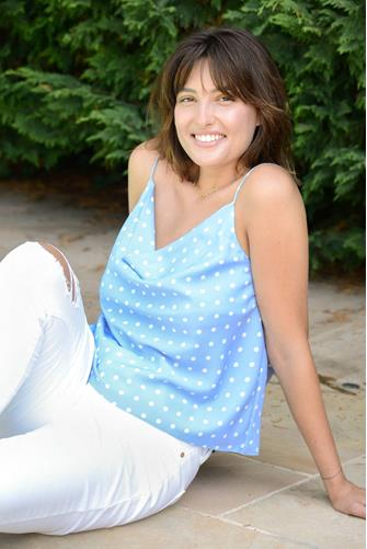 Free The Roses Polka Dot Cowl Cami LITE-BLUE