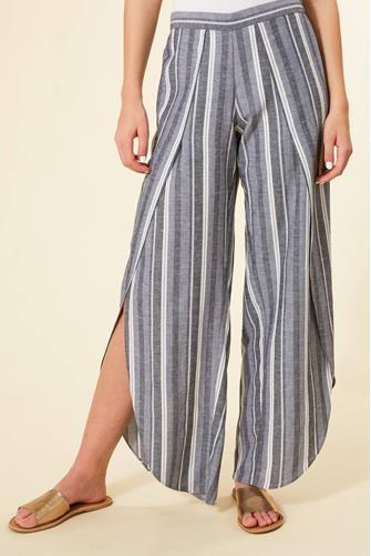 Catalina Blue Stripe Wrap Pant NEON-YELLOW--