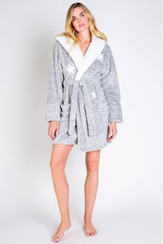 Fuzzy Star Hooded Robe GREY