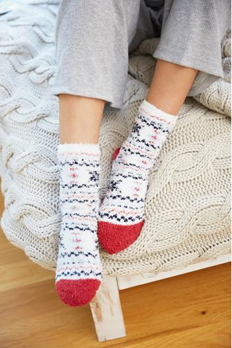 Folk Fuzzy Socks WHITE-MULTI--