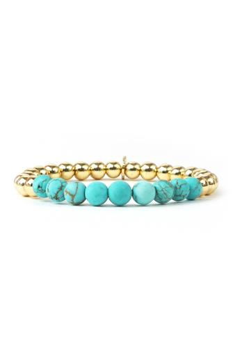 Large Gold & Turqouise Beaded Stretch Bracelet TURQUOISE