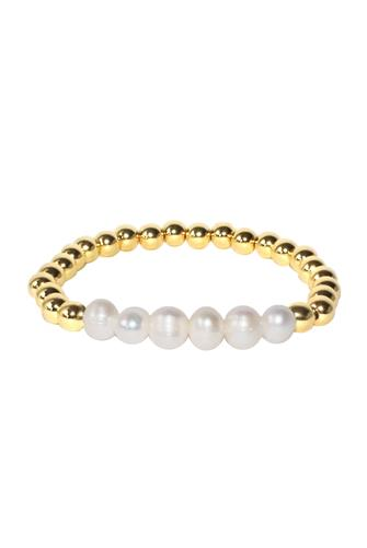Large Gold & Pearl Beaded Stretch Bracelet PEARL