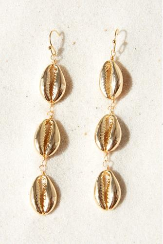 Gold Cowry Shell Triple Linear Earrings GOLD