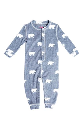 Infant Grey Polar Bear Onesie GREY
