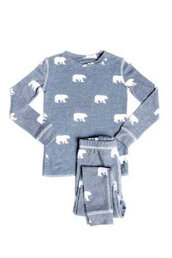 Toddler Grey Polar Bear Pajama Set CHARCOAL