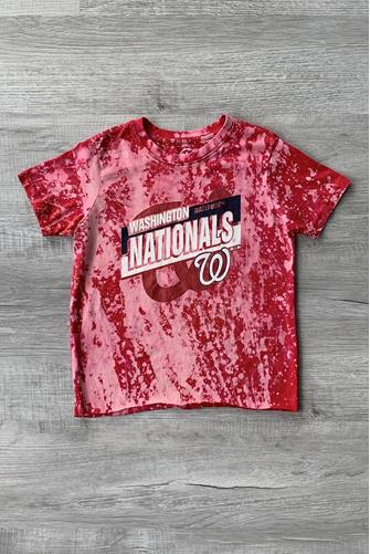 Youth Large Washington Nationals 18x16 Tie Dye Tee RED