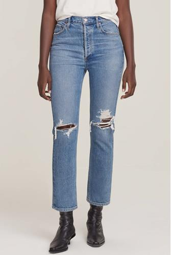 Riley Hi Rise Straight Leg Crop Jean in Whiplash MEDIUM DENIM