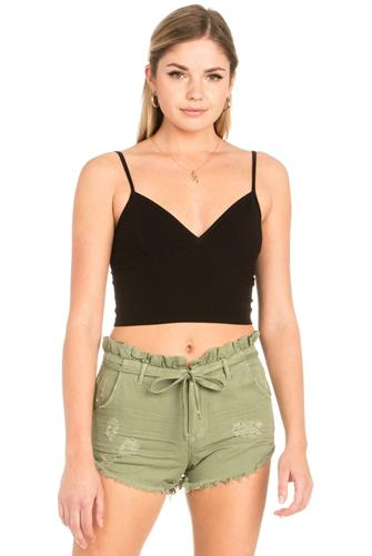 Ribbed Longline Bralette BLACK