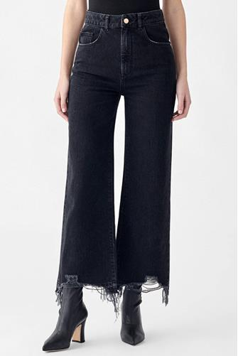 DL1961 Hepburn Hi Rise Wide Leg Jean in Lark BLACK