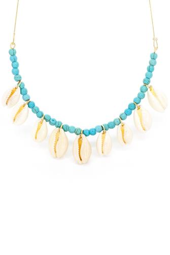 Salty Shells Tahiti Puka Choker Necklace TURQUOISE