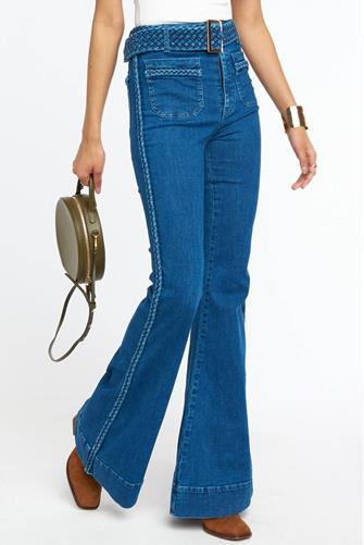 Farrah Trouser Flare Jean in Braided True Blue MEDIUM DENIM