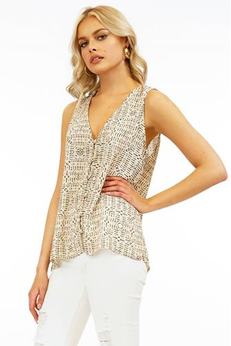 Button Front Printed Sleeveless Top MULTI
