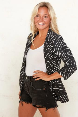 Manhattan Ruched Blazer BLACK-MULTI--