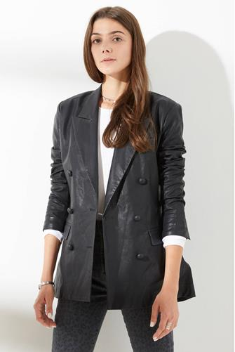 Carbon Vegan Leather Blazer BLACK