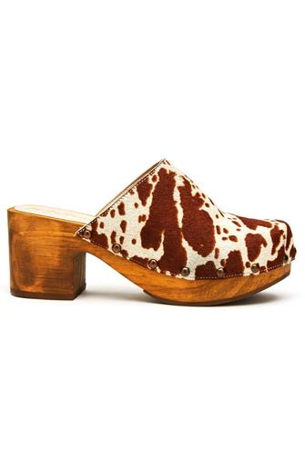Holly Cowhide Clog WHITE MULTI -