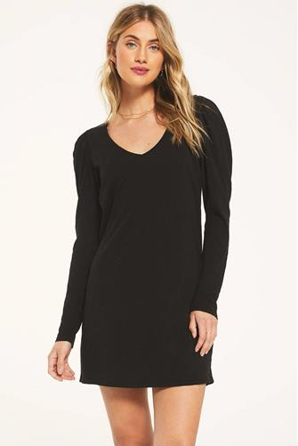 Puff Sleeve Shirt Mini Dress BLACK