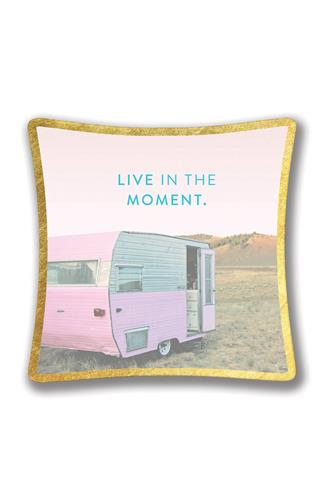 Live In The Moment Small Glass Trinket Tray PINK-MULTI--