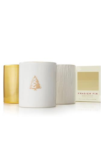 Thymes Frasier Fir Gilded Candle Trio Set WHITE