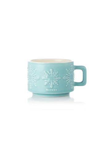 Hot Cocoa Peppermint Small Mug Candle 3.5 oz. LITE BLUE