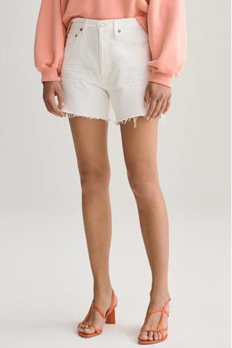 Reese Relaxed Cut Off Denim Short in Tissue WHITE