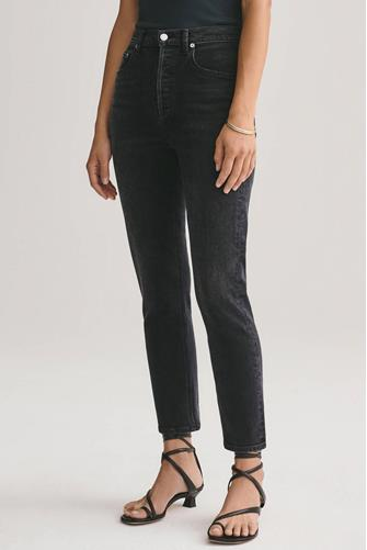 Riley Hi Rise Straight Leg Crop Jean in Black Pepper BLACK