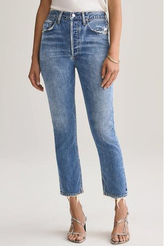 Riley Hi Rise Straight Leg Crop Jean in Frequency MEDIUM-DENIM