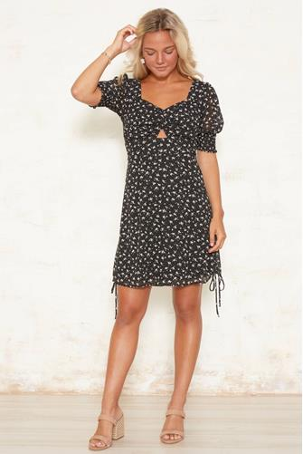 Smocked Puff Sleeve Cut Out Mini Dress BLACK-MULTI--
