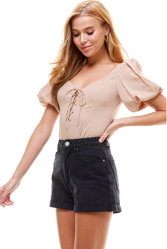 Lace Up Bodysuit TAUPE