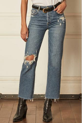The Mikey Distressed Hi Rise Wide Leg Crop Jean in Short Circuit MEDIUM-DENIM