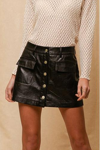 Vegan Button Mini Skort BLACK