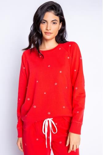 Snowflake Red Crewneck Top RED
