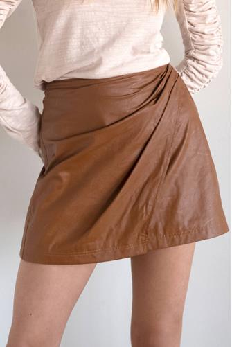 Brown Fake Out Faux Wrap Skirt BROWN
