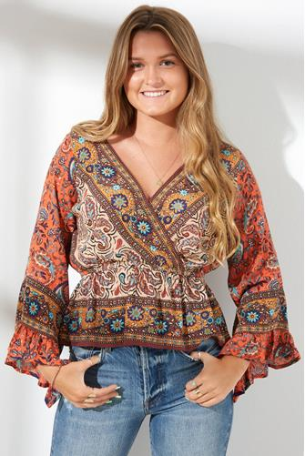 Rosalie Printed Wrap Top BROWN-MULTI--