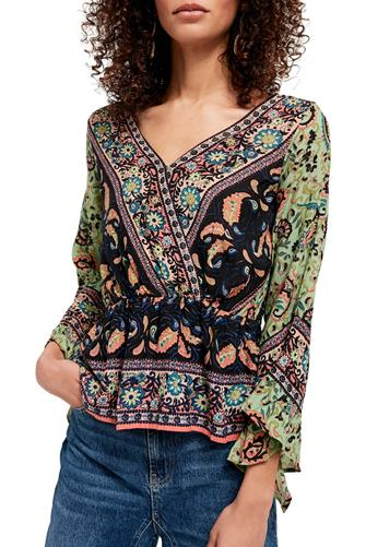 Rosalie Printed Wrap Top GREEN MULTI -