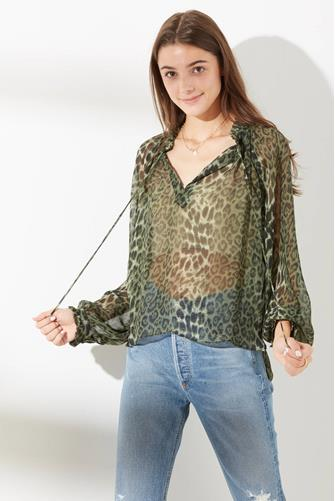 Green Ruffle Neck Animal Print Blouse GREEN MULTI -